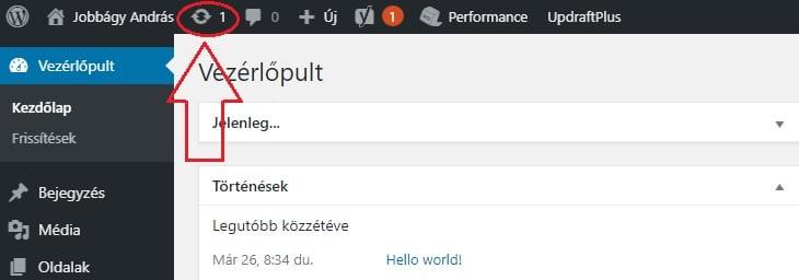 WordPress frissítése honlap karbantartáskor
